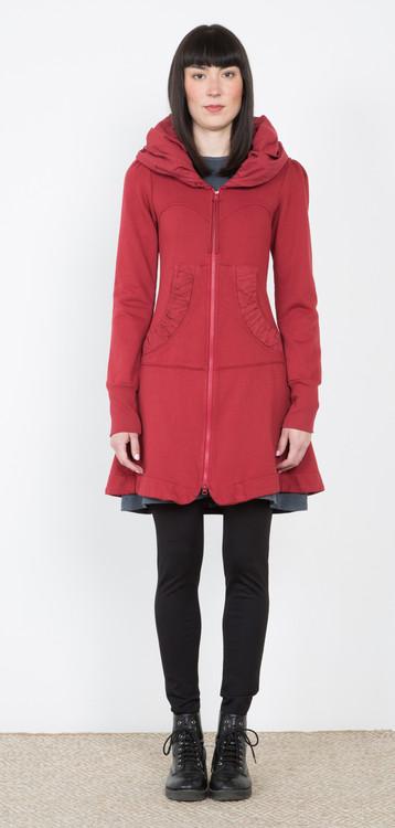 Prairie Underground - Long Cloak Hoodie in Crimson $264 - show pony boutique