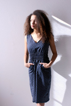 Modaspia - Fiji Dress in Navy and White Polka Dot