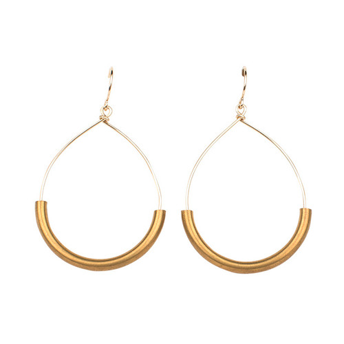 Veronica & Harold - Veronica & Harold - Jacqueline Brass Hoop on Sterling Wire - Show Pony Boutique