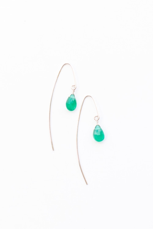 Veronica & Harold - Isabel Small Faceted Stone Earrings on Gold Hooks - Show Pony Boutique