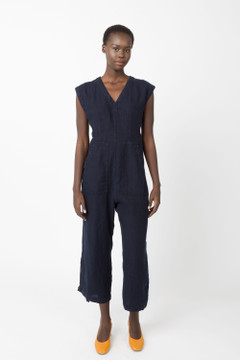 Prairie Underground - Linen Tie Jumpsuit in Midnight $209 - Show Pony Boutique