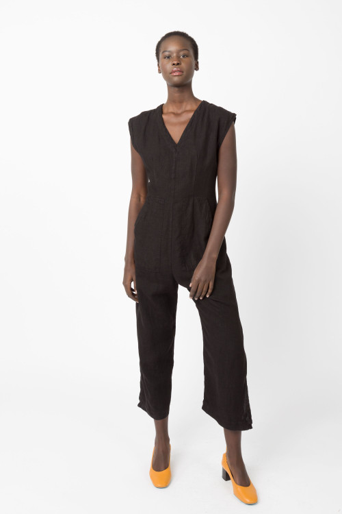 Prairie Underground - Linen Tie Jumpsuit in Black $209 - Show Pony Boutique