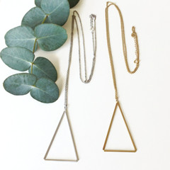 Tasi & Stowaway - Long Triangle Necklace in Multiple Metals -Show Pony Boutique- $35