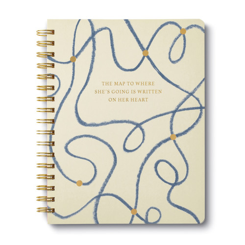 Compendium - Wire-O Notebook - The Map to Where She's Going is Written on Her Heart $13.95 - Show Pony Boutique