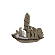 Chinese Mudman Figurine | Skiff boat (F-065)