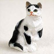 Black & White Shorthaired Tabby Cat Figurine