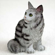 Silver Tabby Maine Coon Cat Figurine