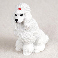 Poodle White Bonsai Tree Figurine
