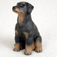 Doberman Pinscher Black w/Uncropped Ears Bonsai Tree Figurine