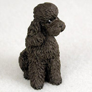 Poodle Chocolate w/Sport Cut Bonsai Tree Figurine