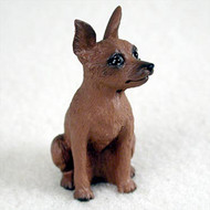 Miniature Pinscher Red & Brown Bonsai Tree Figurine