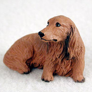 Dachshund Longhaired Red Bonsai Tree Figurine