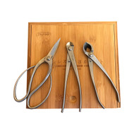 Tinyroots Stainless Steel 3pc Tool Kit. Three of the Most Popular Bonsai Tools Packaged in an Elegant Bamboo Box.