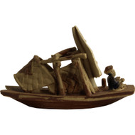 Chinese Figurine - Skiff Boat with Colorful Man (F-012)