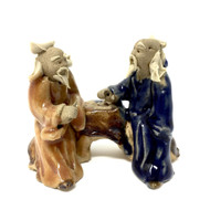 Chinese Figurine - Two Men Small  Navy  & Orange (F-026)