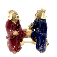 Chinese Figurine - Two Men Small Navy & Maroon (F-027)