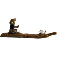 Chinese Figurine - Man sitting on Raft with Bird (F-031)