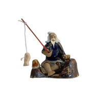 Chinese Figurine - Man Sitting on Rock Fishing (F-053)