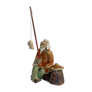 Chinese Figurine - Man Sitting Fishing with Hat on a Rock (F-055)