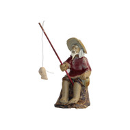 Chinese Figurine - Man Sitting with Hat  Fishing on a Rock (F-056)