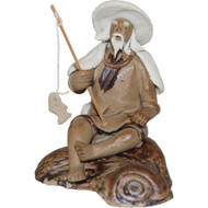 Chinese Figurine - Man Sitting Fishing with Hat  & Shawl on a Rock (F-069)