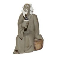 Chinese Figurine - Mudman Sitting Holding Shell (F-090)