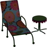 Fairy Garden Figurine - Miniature Beach Chair & Table (FGF-016)