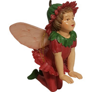 Fairy Garden Figurine - Kneeling Fairy with Red/Green Outfit (FGF-086)