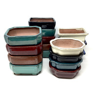 "8"" Glazed Ceramic Bonsai Pots (Choose Style)"