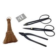 Yoshiaki Bonsai Tool Set - Shears, Scissor-Style Wire Cutters, Jin Pliers, Hemp Broom, & Sharpening Stone