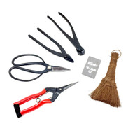 Yoshiaki Japanese Bonsai Tool Set – Butterfly Shears, Wire Cutters, Jin Pliers, Trimming Shears, Hemp Broom, & Sharpening Stone