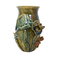 "7"" Green Lucky Bamboo Flower & Frog Vase"