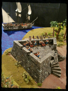 Demi-Lune 28mm resin cast fortification
