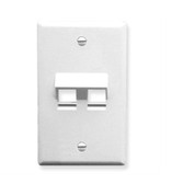 ICC FACEPLATE, ANGLED, 1-GANG, 2-PORT, WHITE IC107DA2WH