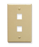 ICC FACEPLATE, OVERSIZED, 2-PORT, IVORY IC107LF2IV