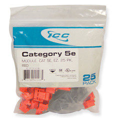 IC107E5CRD - 25PK Cat5 Jack - Red