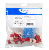 MODULE, CAT 5e, HD, 25 PK, RED