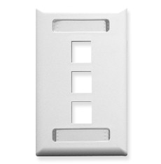FACEPLATE, ID, 1-GANG, 3-PORT, WHITE