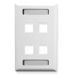 FACEPLATE, ID, 1-GANG, 4-PORT, WHITE