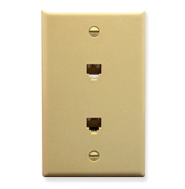 WALL PLATE, 2 VOICE 6P6C, IVORY