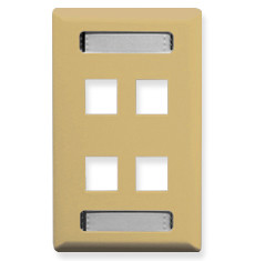 ICC FACEPLATE, ID, 1-GANG, 4-PORT, IVORY IC107S04IV