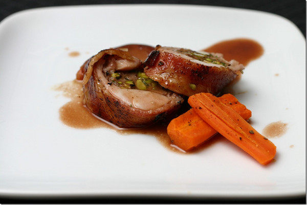 Rabbit stuffed with Sausage and Pistaccios - photo by Moonlitkitchen.com