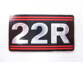 22R Emblem - Toyota O.E.M. engine badge for carbureted 22R Toyota engines - 11291-35030