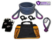 "Yukon recovery gear kit with 7/8"" kinetic rope YRGKIT-1 *7/8"" kinetic rope - 30 feet long   *Soft shackle   *Two D-rings   *One pair of gloves   *Storage bag    *Kinetic design increases pulling capacity by up to 30%    *Rope rated to 28,000 lbs."