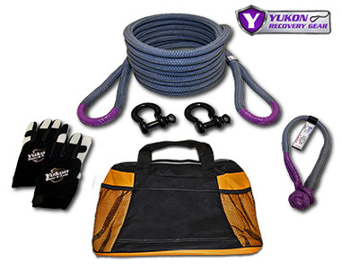 """Yukon recovery gear kit with 7/8"""" kinetic rope YRGKIT-1 *7/8"""" kinetic rope - 30 feet long   *Soft shackle   *Two D-rings   *One pair of gloves   *Storage bag    *Kinetic design increases pulling capacity by up to 30%    *Rope rated to 28,000 lbs."""