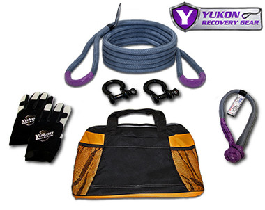 """Yukon recovery gear kit with 3/4"""" kinetic rope YRGKIT-2 *3/4"""" kinetic rope - 20 feet long   *Soft shackle   *Two D-rings   *One pair of gloves   *Storage bag   *Kinetic design increase pulling capacity by up to 30%    *Rated to 19,000 lbs."""