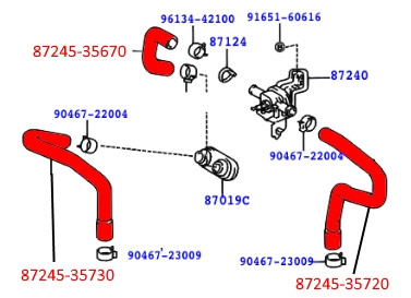 96 02 4runner heater hose kit with rear heater kit 1077 rh yotashop com Chevy Heater Core Diagram Chevy Heater Core Diagram