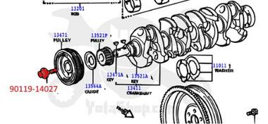 Toyota Crankshaft Pulley Bolt 2.0L 3SFE & 2.2L 5SFE - 90119-14027