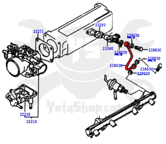 toyota 22re cold start injector fuel supply metal line 23801