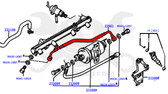 Fuel Line - Toyota 4Runner, Pickup 22RE (1988-1995) Fuel Filter to Fuel Rail Supply Line 23901-35010